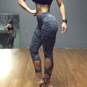 Lace up yoga leggings